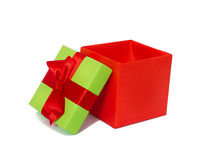 Gift box with red ribbon and bow Royalty Free Stock Images
