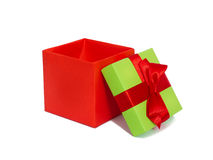 Gift box with red ribbon and bow Stock Photography