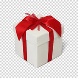 Gift box with red ribbon and bow. Gift box with red ribbon and bow  on transparent background. Vector illustration Stock Photography