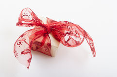 Gift box with red ribbon bow,  Stock Image