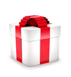 Gift box with red ribbon and bow. Gift box with red ribbon and bow on white background Stock Photos