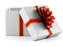 Gift box with red ribbon bow. On white background Royalty Free Stock Images
