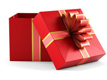 Gift box with red ribbon bow. On white background Stock Photo