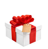 Gift box with red ribbon bow on white background without shadow Stock Photos