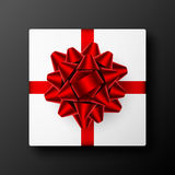 Gift box with red ribbon and bow Royalty Free Stock Photo