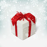 Gift box with red ribbon and bow. Royalty Free Stock Photos