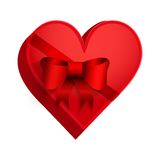 Gift box with red ribbon in the form of heart. Royalty Free Stock Images