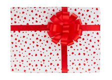 Gift box with red ribbon. Isolated on white background Stock Image