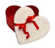 Gift box and red ribbon isolated Royalty Free Stock Image