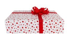 Gift box with red ribbon. Isolated on white background Royalty Free Stock Photos