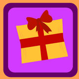 Gift box with red ribbon for presents. Editable vector illustration template Royalty Free Stock Photography