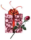 Gift box, with red ribbon and rose. Royalty Free Stock Images