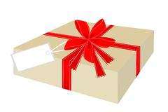 Gift Box with Red Ribbon and Tag Royalty Free Stock Photos