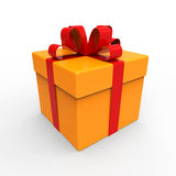 Gift Box with Red Ribbons Stock Image