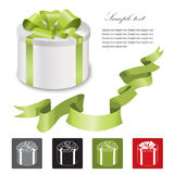 Gift box with red ribbons bow set. Royalty Free Stock Image