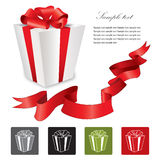 Gift box with red ribbons bow set. Vector illustration. Collection of icons: gift box with bow Stock Photo