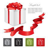 Gift box with red ribbons bow set. Royalty Free Stock Photos