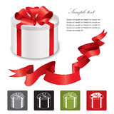 Gift box with red ribbons bow set. Vector illustration. Collection of icons: gift box with bow Stock Photos