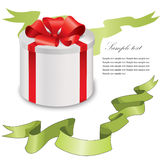 Gift box with green ribbons bow set. Royalty Free Stock Images