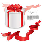 Gift box with red ribbons bow set. Vector illustration. Collection of icons: gift box with bow Royalty Free Stock Image
