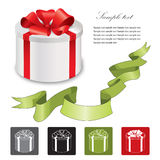 Gift box with red ribbons bow set. Royalty Free Stock Photography