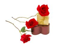 A gift box and red rose Stock Photography