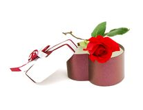 Gift box and red rose Royalty Free Stock Photos