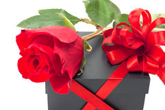 Gift box with a red rose Royalty Free Stock Images