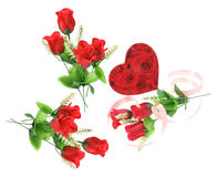 Gift Box and Red Roses Stock Images