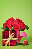 Gift box with red roses Royalty Free Stock Image