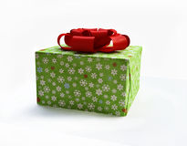 Gift Box with Red Silk Ribbon. 3D Gift Box with Red Silk Ribbon Royalty Free Stock Photography