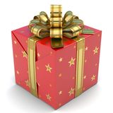 Gift Box Red with stars Royalty Free Stock Image