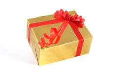 Gift box with red tape on white background Royalty Free Stock Photos