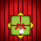 Gift box. With red wood texture.Vector Stock Photos