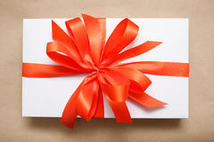 Gift box with ribbon. A Gift box with ribbon Royalty Free Stock Photography