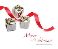 Gift box, ribbon and bow Stock Images