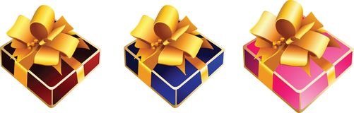 Gift box with ribbon bow Stock Images