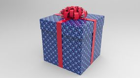 Gift box with ribbon and bow. Blue gift box with red ribbon and bow Stock Photos