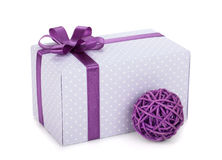 Gift box with ribbon and bow and christmas decor Royalty Free Stock Image