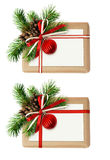 Gift box with ribbon bow, Christmas decorations and a card Stock Photo