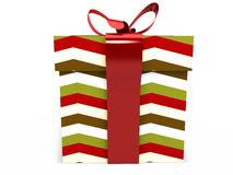 Gift box with ribbon bow 3d illustration rendering Royalty Free Stock Photography