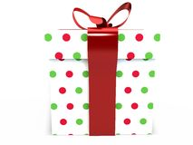 Gift box with ribbon bow 3d illustration rendering Royalty Free Stock Images
