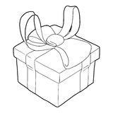 Gift box with ribbon bow icon, outline style Stock Photos