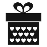 Gift box with ribbon bow icon, simple style Stock Images