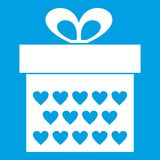 Gift box with ribbon bow icon white Royalty Free Stock Photography