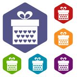 Gift box with ribbon bow icons set hexagon Stock Photo