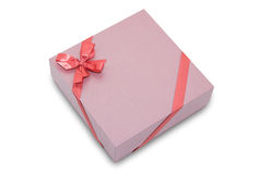 Gift box with ribbon bow Royalty Free Stock Photos