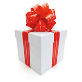 Gift box with ribbon and bow. Royalty Free Stock Photos
