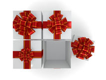 Gift box with ribbon bow, isolated on white. 3D Stock Photography