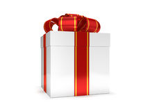 Gift box with ribbon bow, isolated on white. 3D Royalty Free Stock Photo